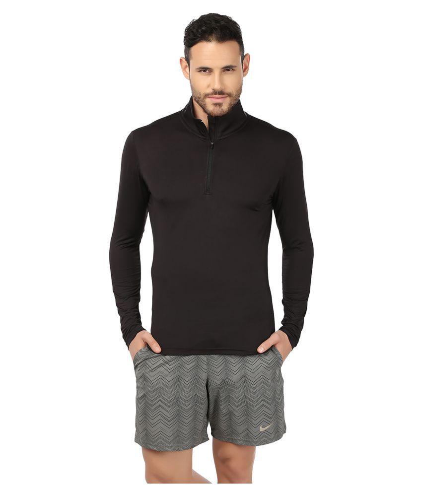 Fitrr Black Polyester T-Shirt Single Pack