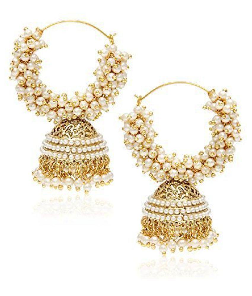 Royal Bling White Jhumka Earrings