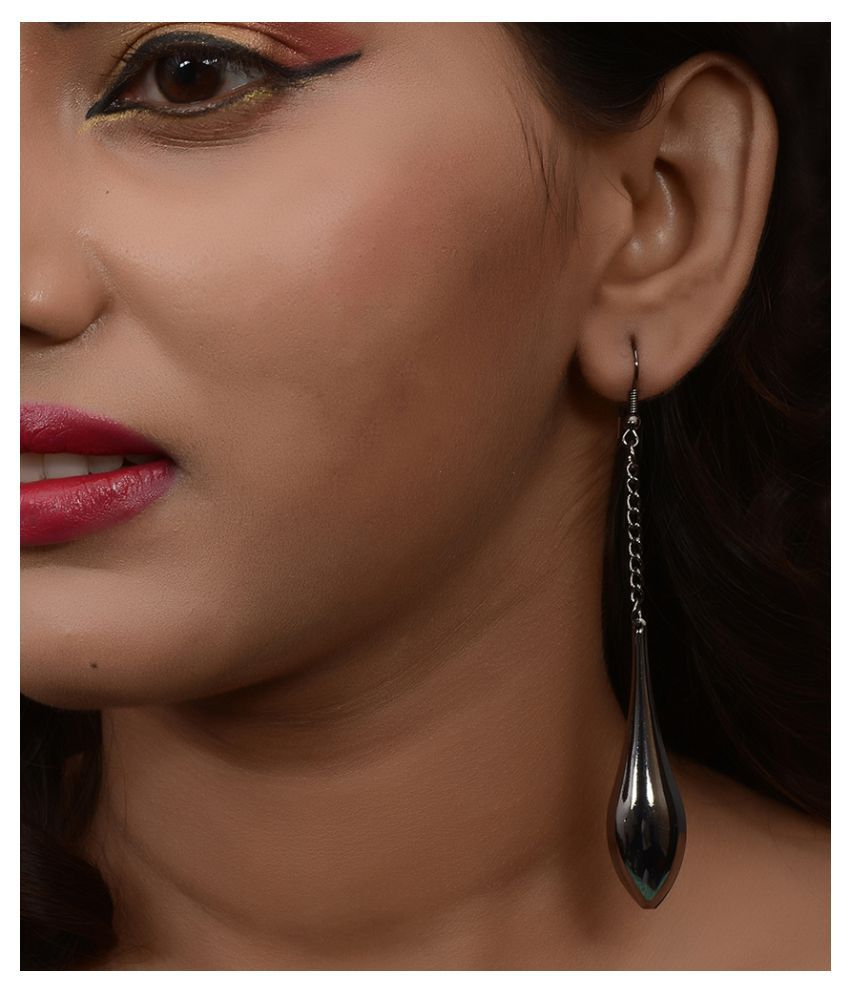 Trinetra Black Alloy Hanging Earring