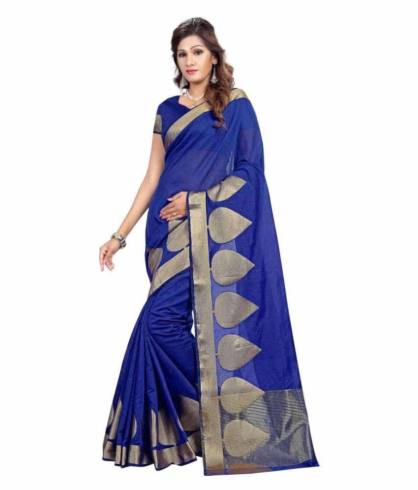 Manisha Fashion Blue Kanchipuram Saree