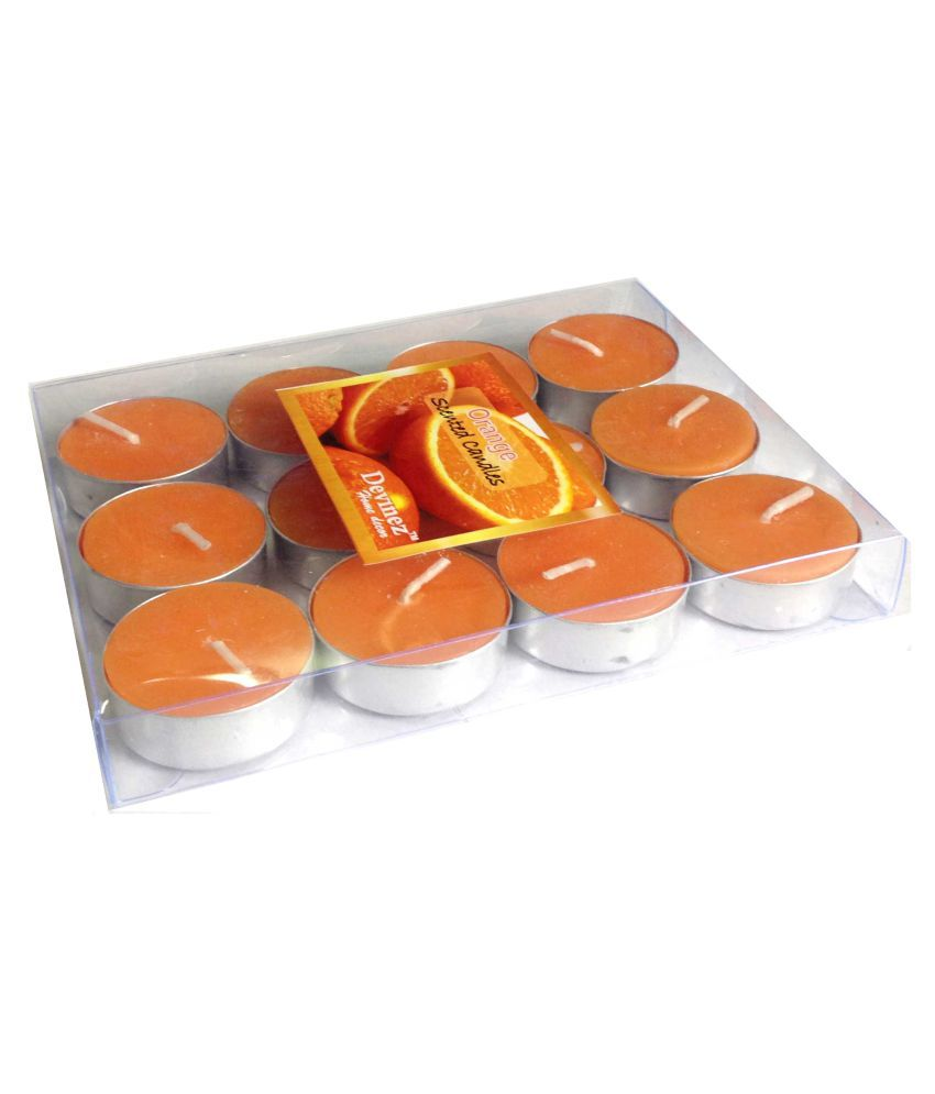 Devinez Orange Scented Smokeless Tealight Candle - Pack of 12