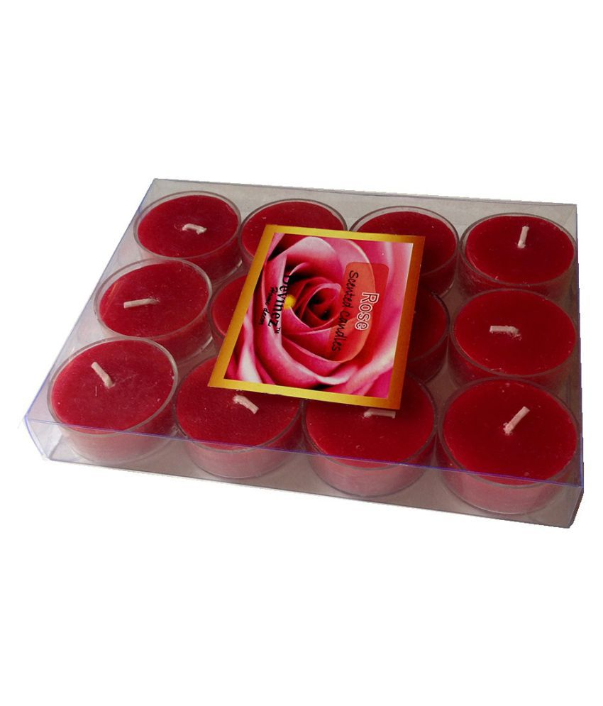 Devinez Red Scented Rose Smokeless Tealight Candle - Pack of 12