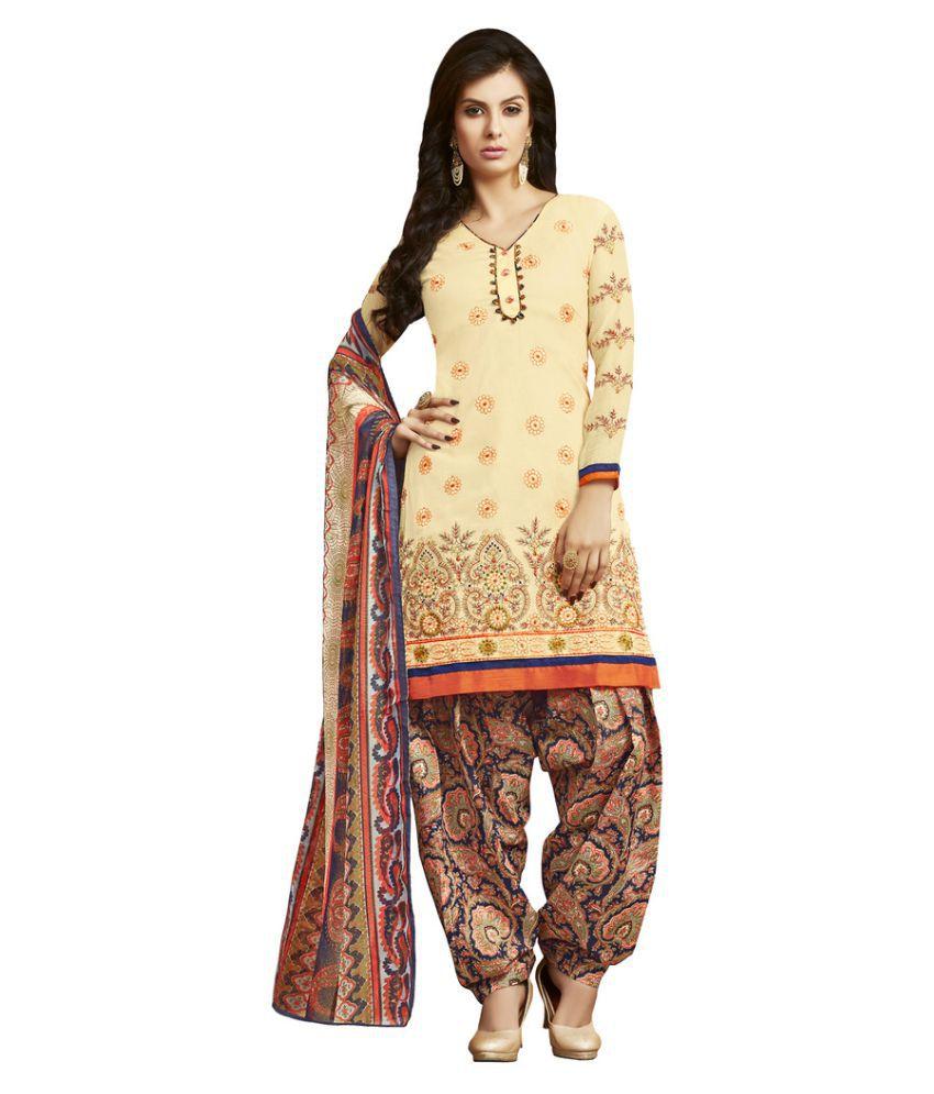 Saree Mall Beige Cotton Dress Material