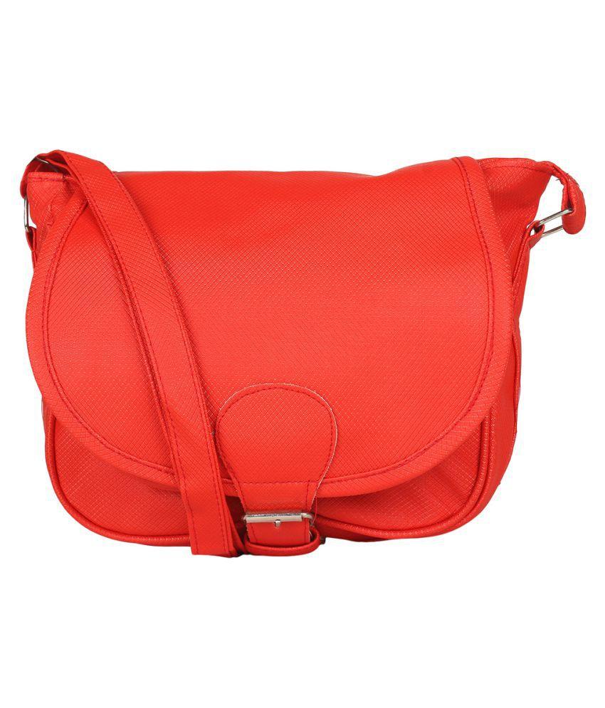 Radhe Collection Red P.U. Sling Bag