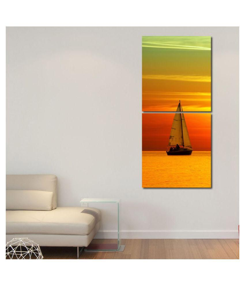 999store Glossy Printed Boat In River Wall Art Painting With Frame -2 Frames
