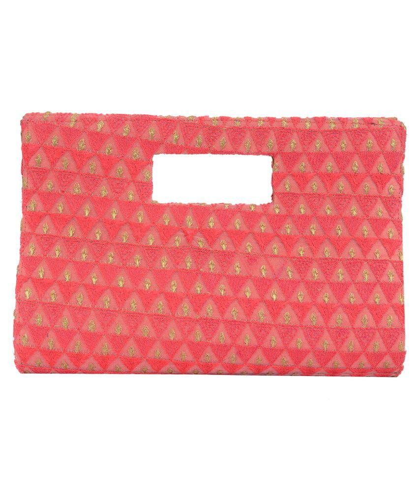 Satvah Pink Silk Box Clutch