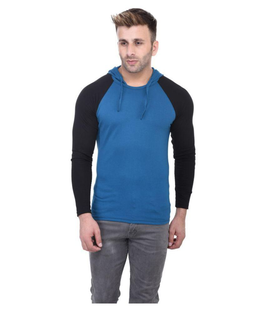 BI FASHION Turquoise Hooded T-Shirt Pack of 1