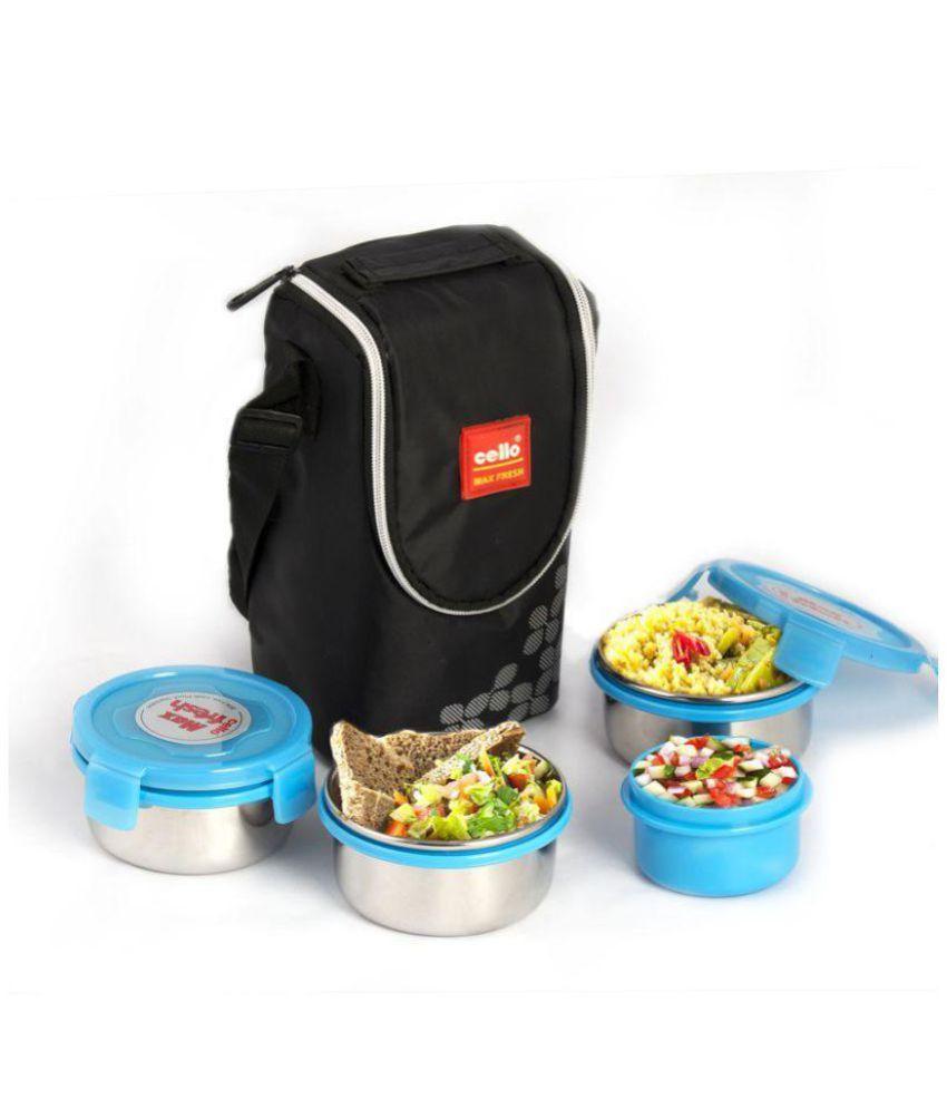 Cello Max Fresh Click 4 container Lunch Box Blue