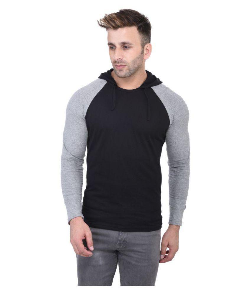Bi Fashion Black Hooded T-Shirt