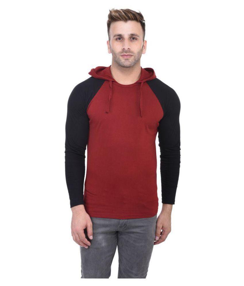 Bi Fashion Maroon Hooded T-Shirt