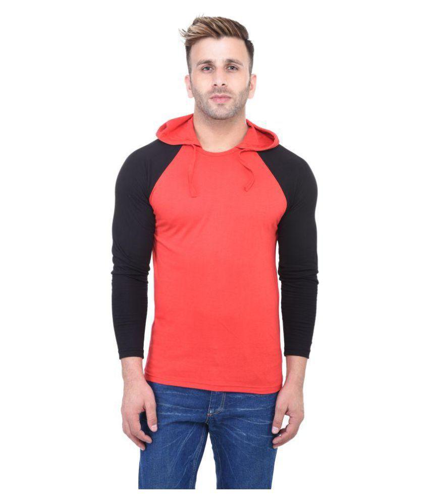 Bi Fashion Red Hooded T-Shirt