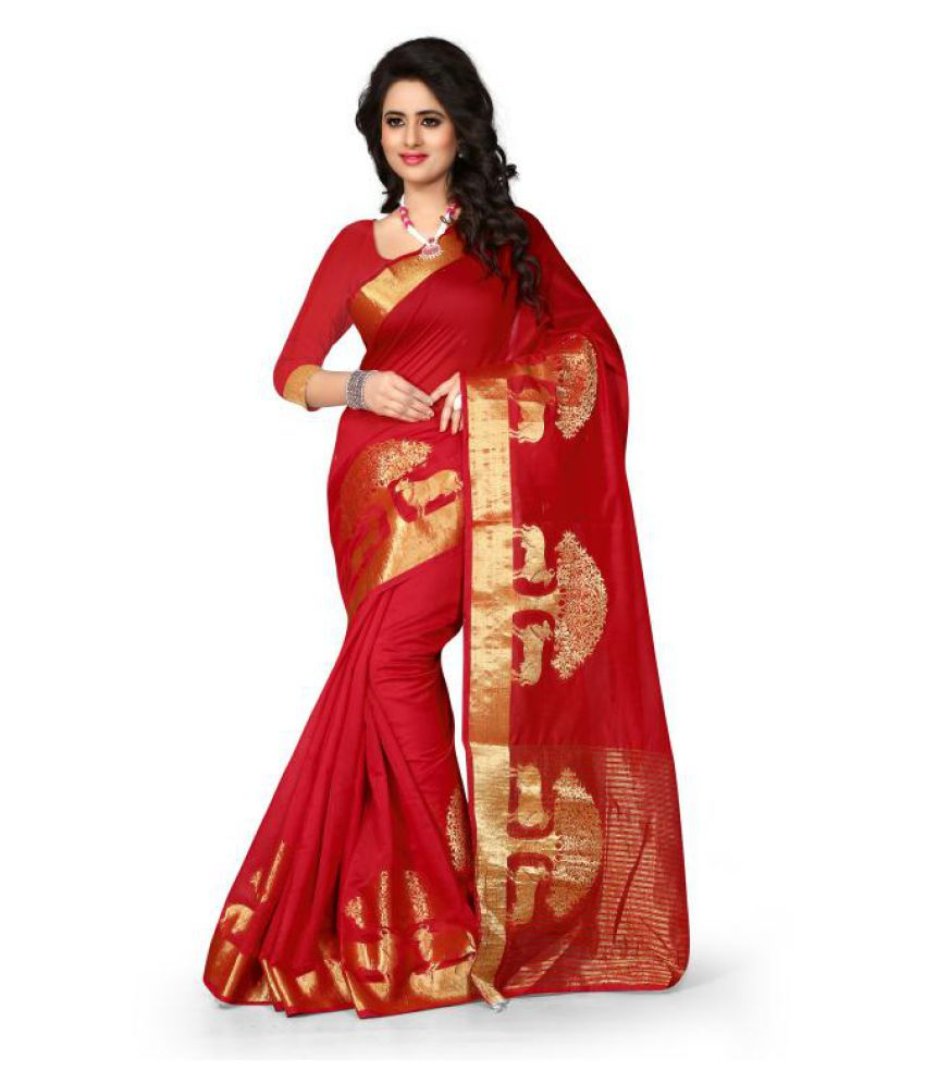 7 Star Jewel Red Cotton Saree