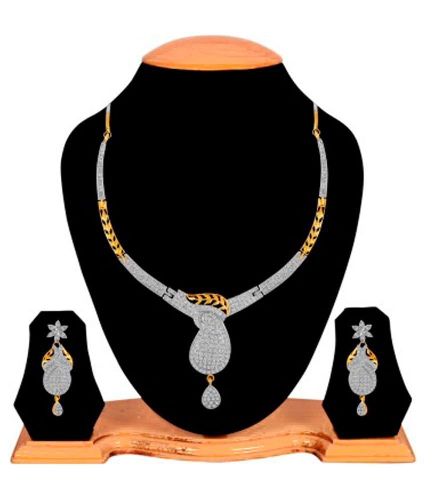 Alysa White Gold Plated American Diamond Necklace Set