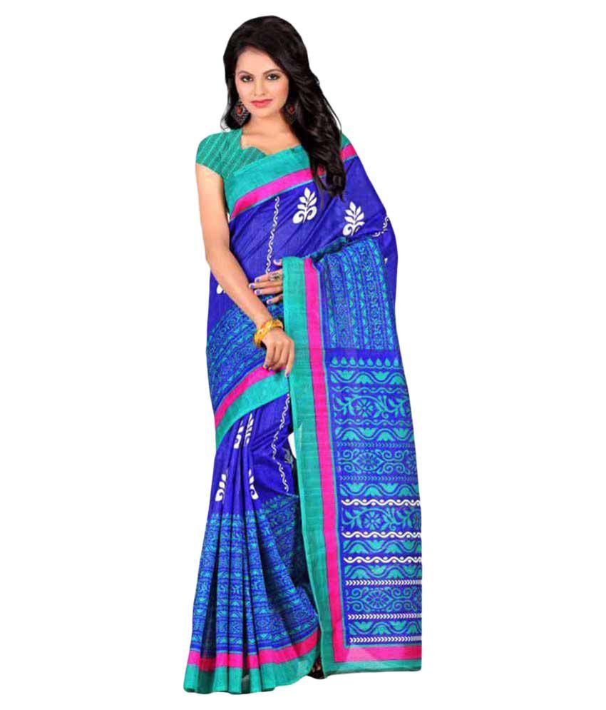 Durga Fashion Blue Art Silk Saree