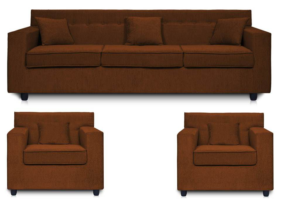 Dolphin Solitaire Fabric 3+1+1 Seater Sofa Set- Brown