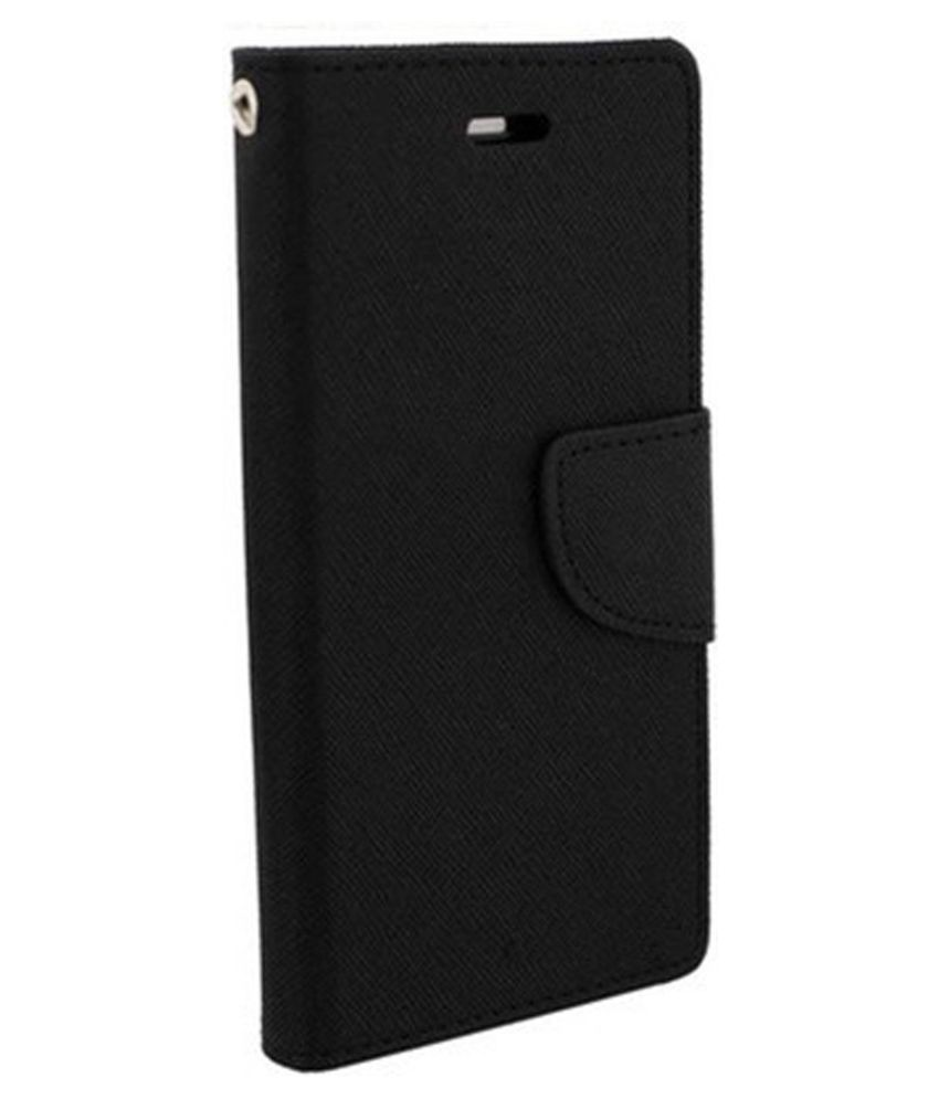 Micromax Canvas Spark Q380 Flip Cover by Top Grade - Black