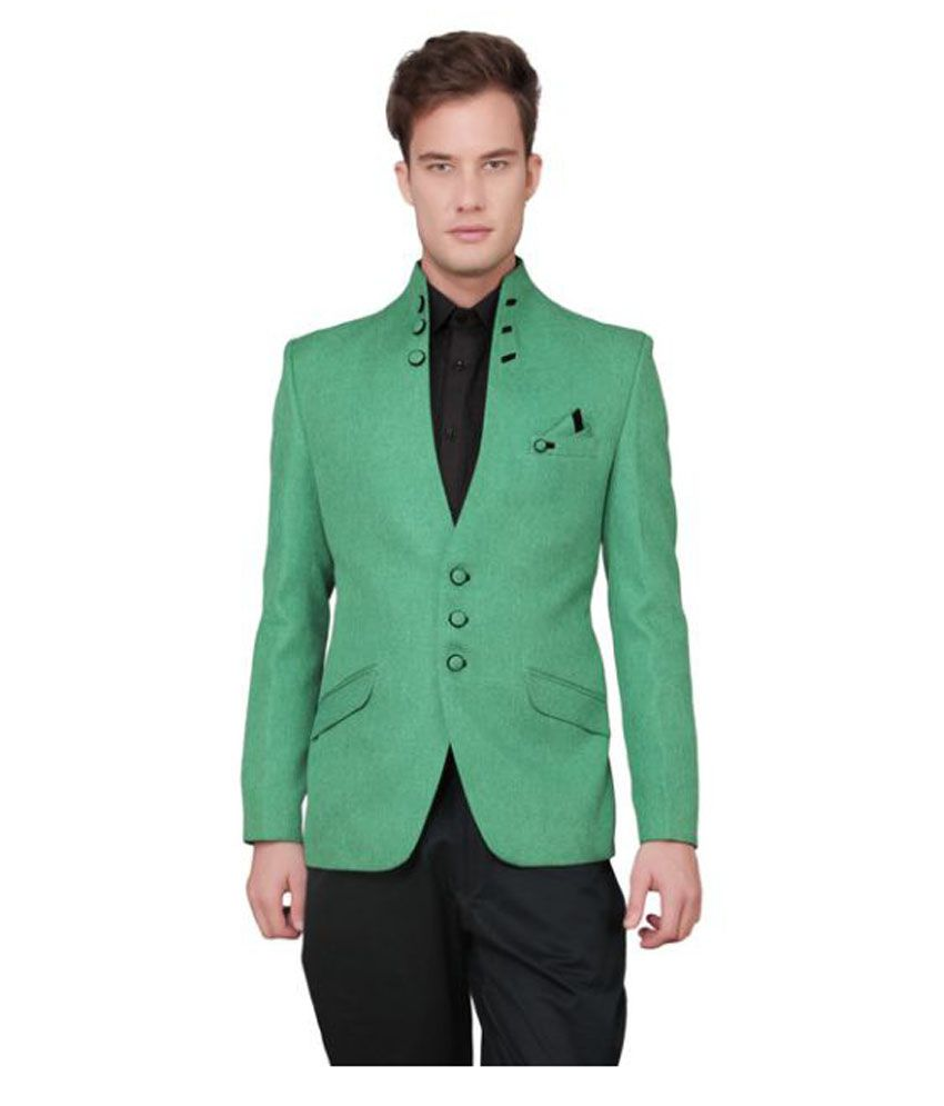 Ajay Arvindbhai Khatri Green Solid Party Blazers