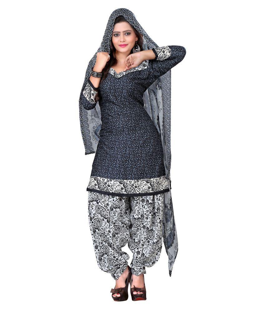 Kalish Black Crepe Dress Material