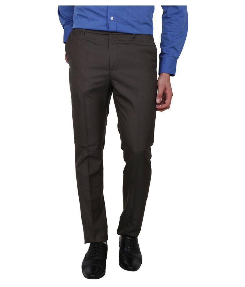 Arrow Black Tapered Flat Trouser