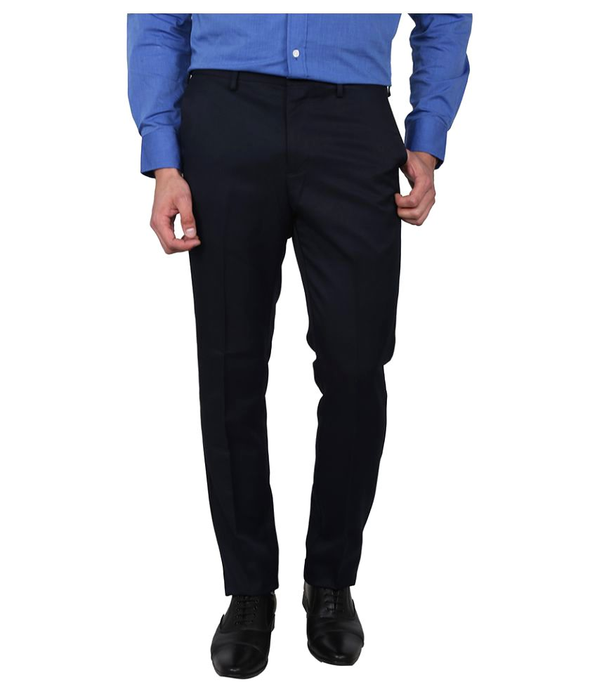 Arrow Navy Blue Tapered Flat Trouser