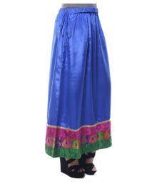 Ridhima Fashion Blue Poly Satin A-Line Skirt