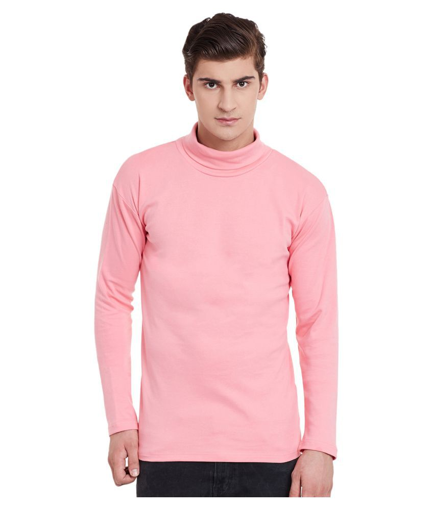 Hypernation Pink Regular Fit High Neck Cotton T Shirt