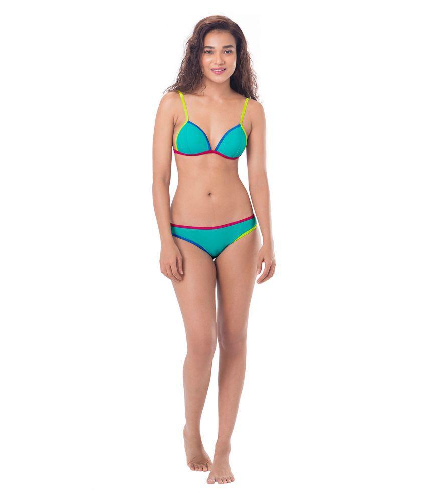 68f5e00a2400 Buy Prettysecrets Turquoise Nylon Bikini Online at Best Prices in ...
