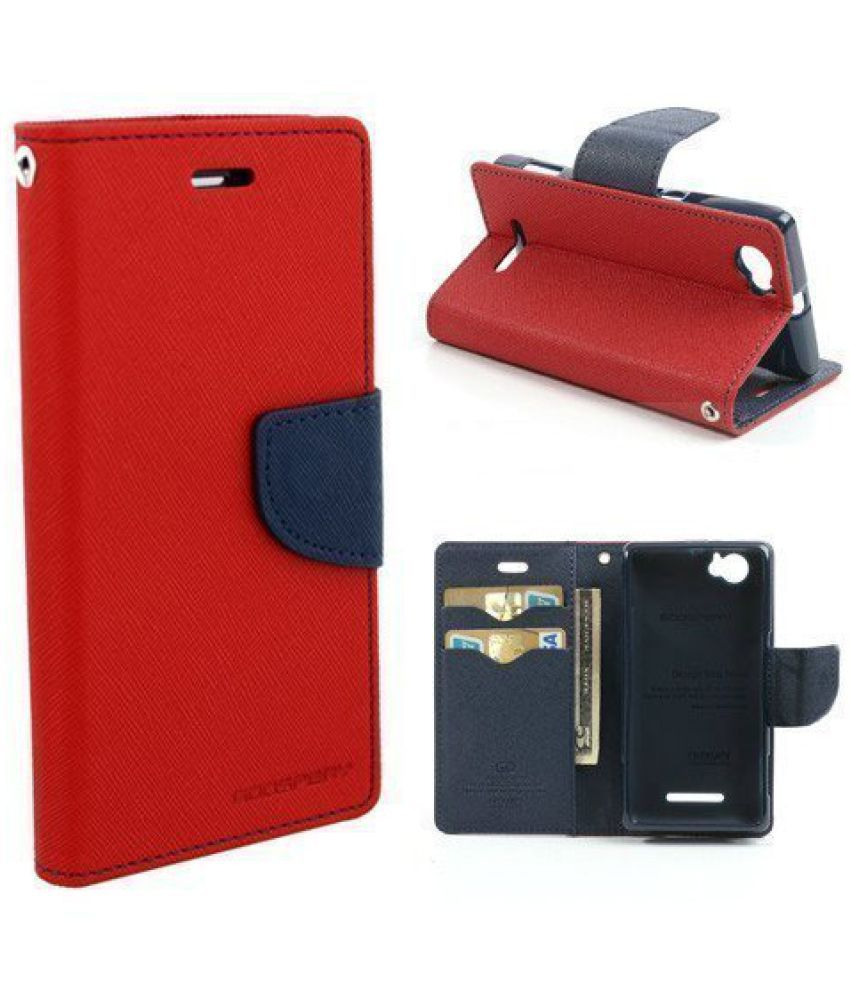 Micromax A116 Canvas Hd Flip Cover By Goospery Mercury   Red available at SnapDeal for Rs.499