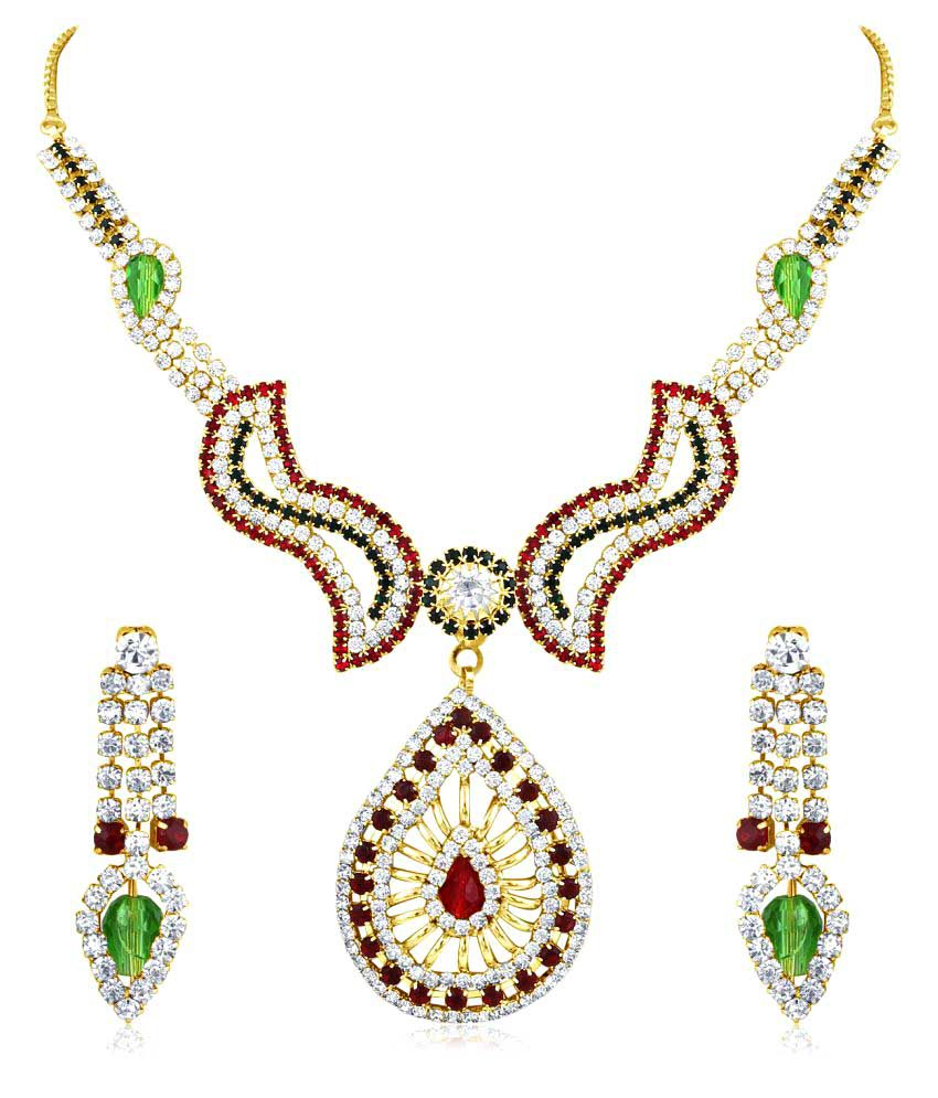 Inaya  Alloy Crystal and Multicolor Gold Plated necklace-sets.