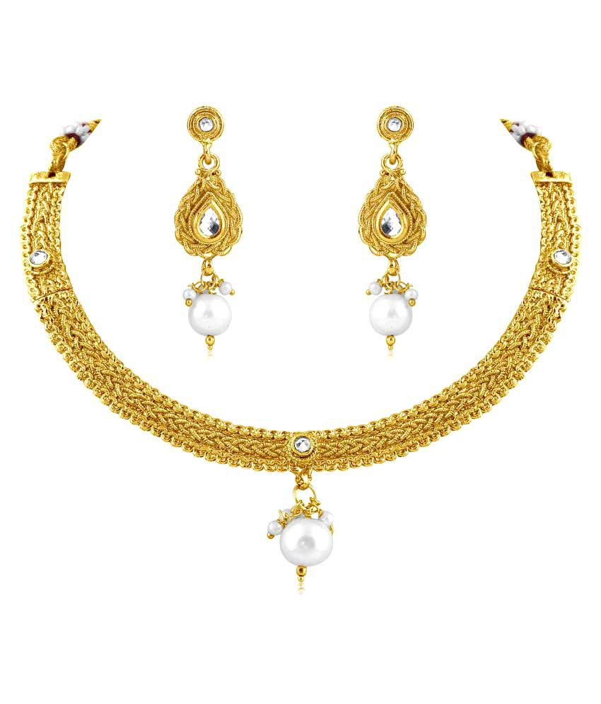 Inaya  Alloy Crystal and Yellow Gold Plated necklace-sets