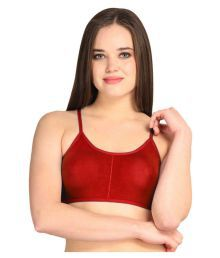 Gopalvilla Red Cotton Lycra Sports Bras - 647040795809
