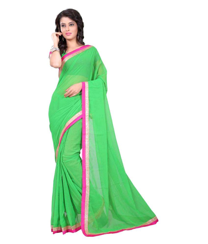 Sharnam Sarees Green Chiffon Saree