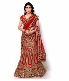 Naaidaakho Red Bangalore Silk Straight Semi Stitched Lehenga