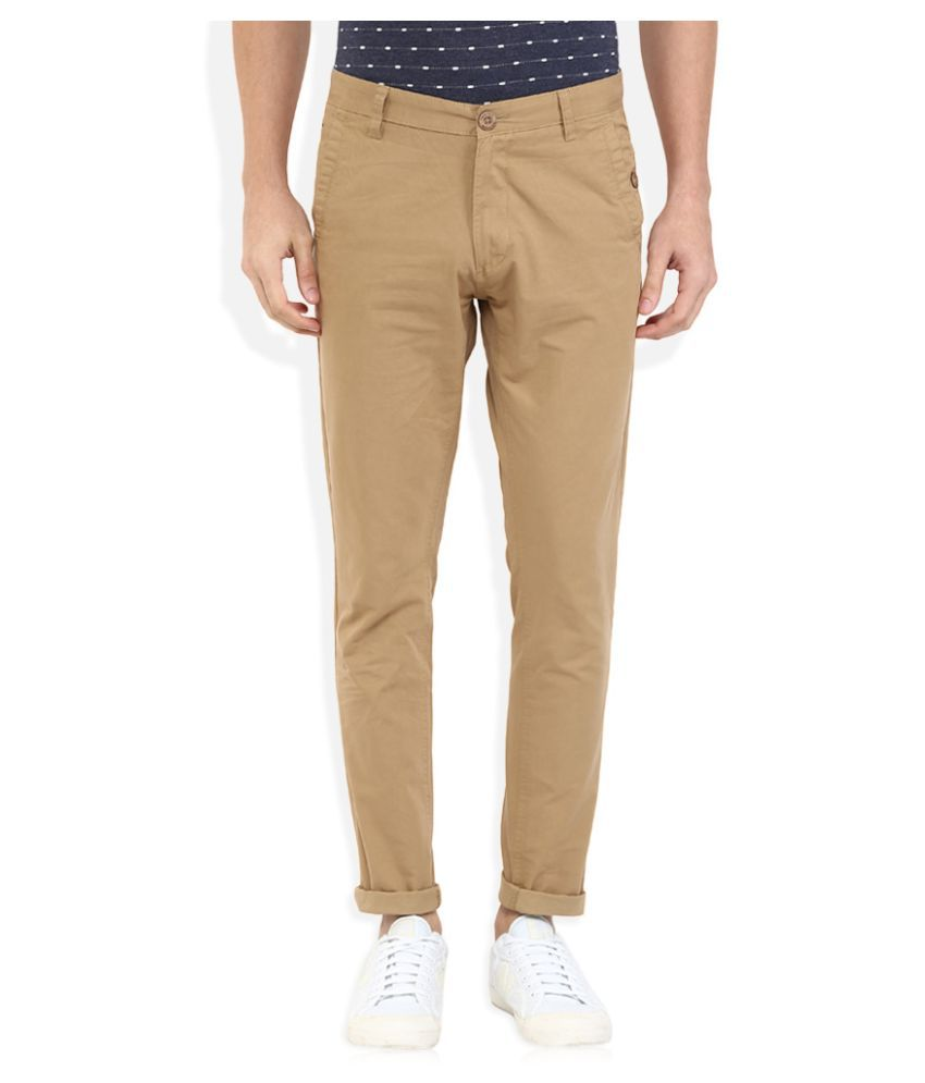 Indigo Nation Khaki Tapered Flat Trouser