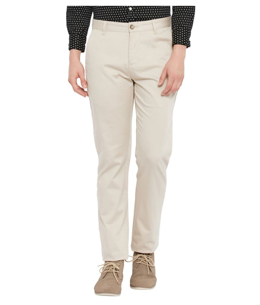 Parx Beige Slim Flat Trouser