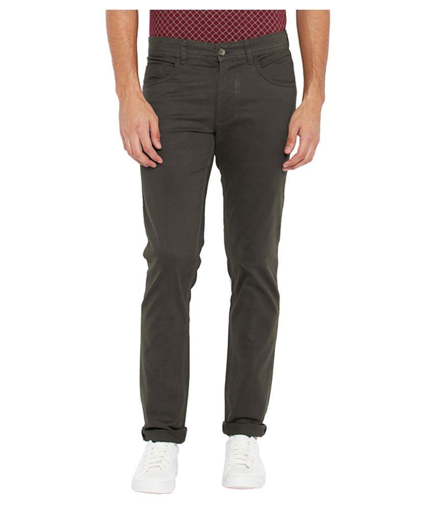 Parx Green Slim Flat Trouser