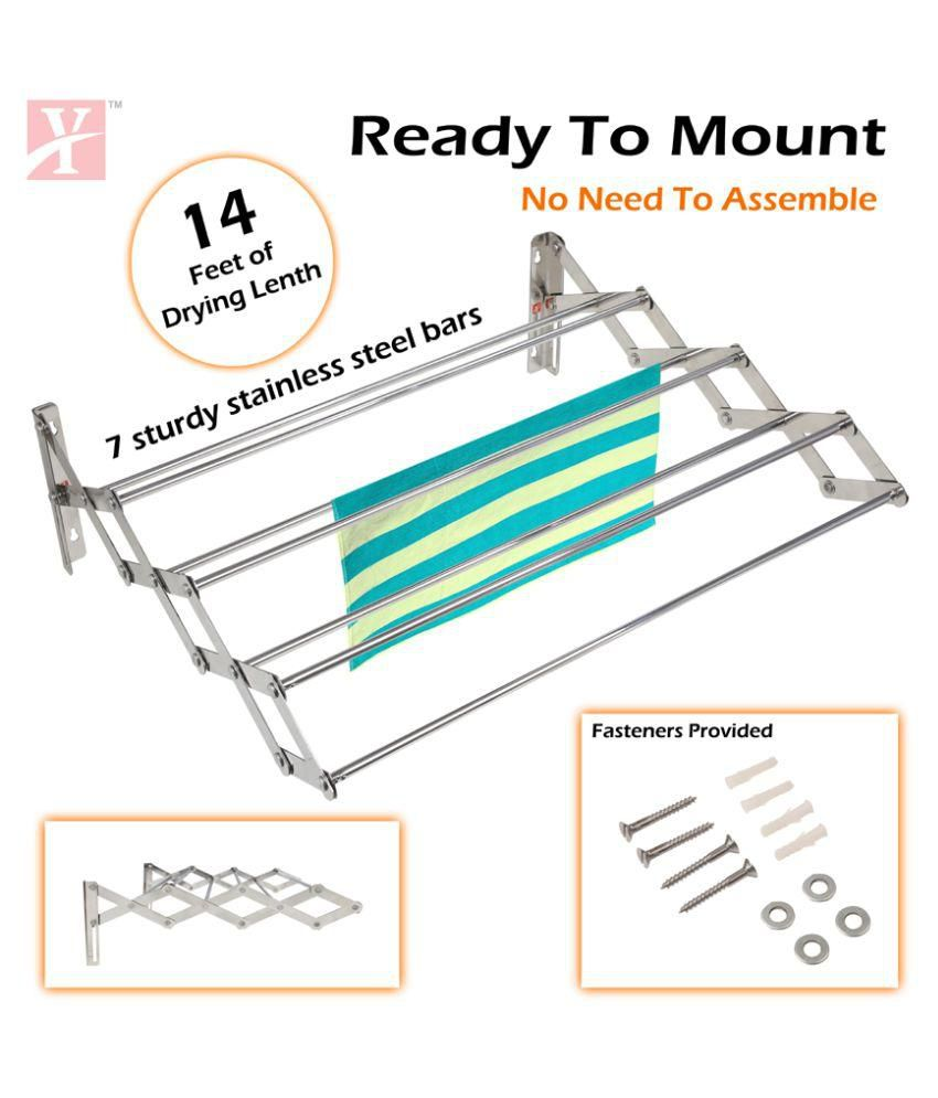 YT Wall Mounting Foldable Cloth Drying Rack Cum Hanger 2 Feet (Made in India)