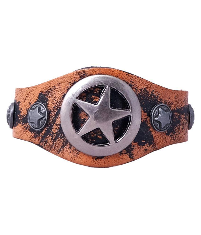 Super Drool Pure Leather Rugged Finish Metal Crown Men Bracelet