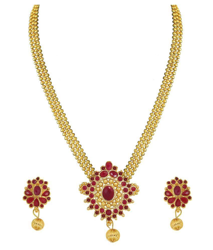 Zaveri Pearls Golden Designer Necklace Set