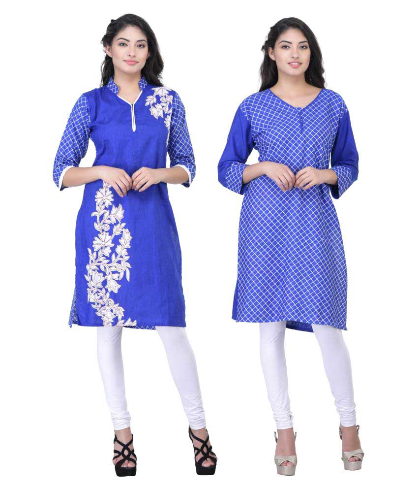 Drapes Blue Cotton Straight Kurti
