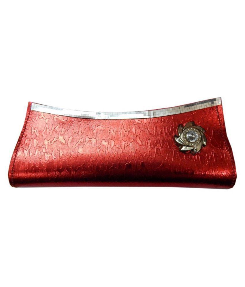 Navaksha Red Faux Leather Box Clutch