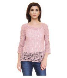 The Crochet Company Dust Rose Pink Crochet Regular Tops