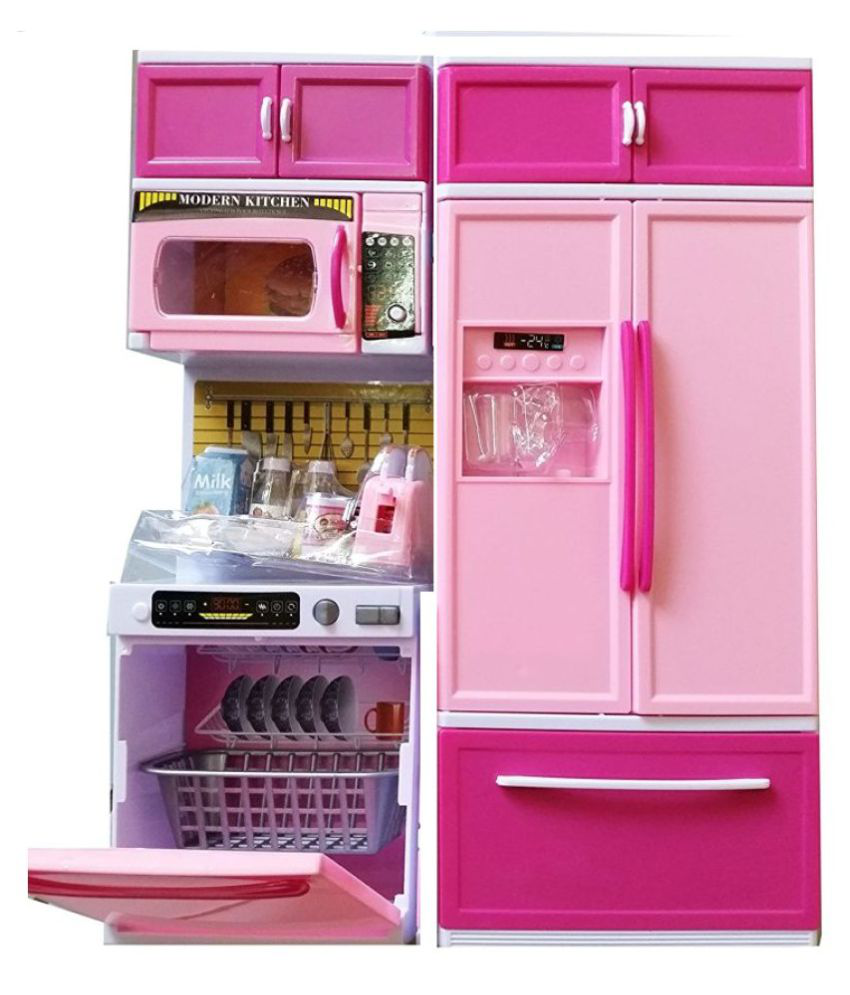 Elektra pink kitchen set with refrigerator buy elektra for Kitchen set pink