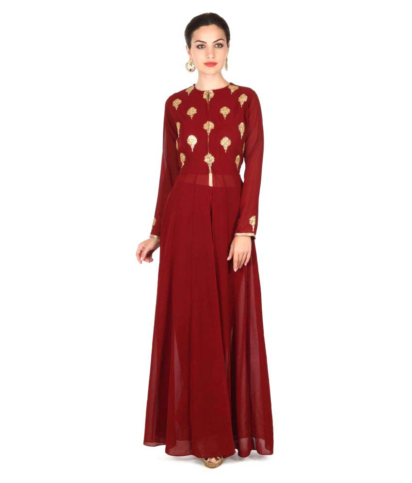 Kalki Fashion Maroon Georgette A-line Stitched Suit