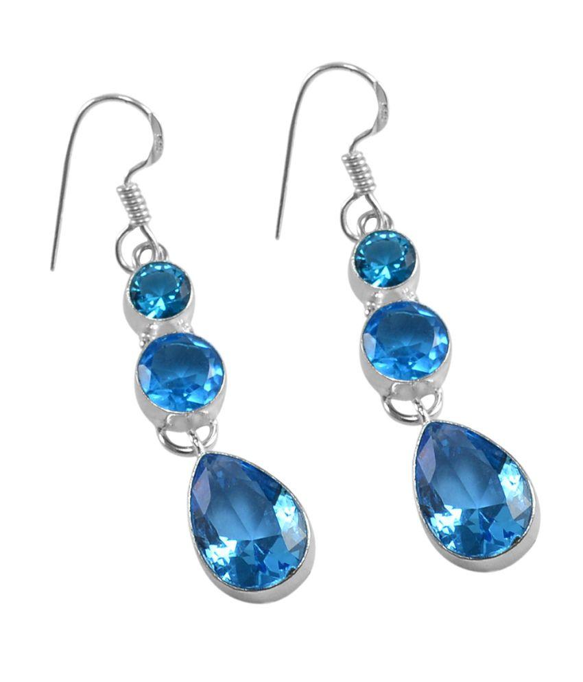 Blue Topaz Quartz 925 Silver Plated Dangle Earrings PG-25317