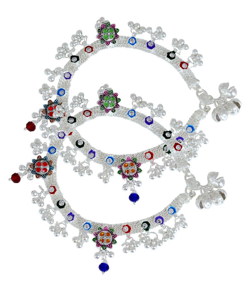 Memoir Silver plated handmade Garden look colourful traditional Ethnic Bridal Jewellery Anklet for Women