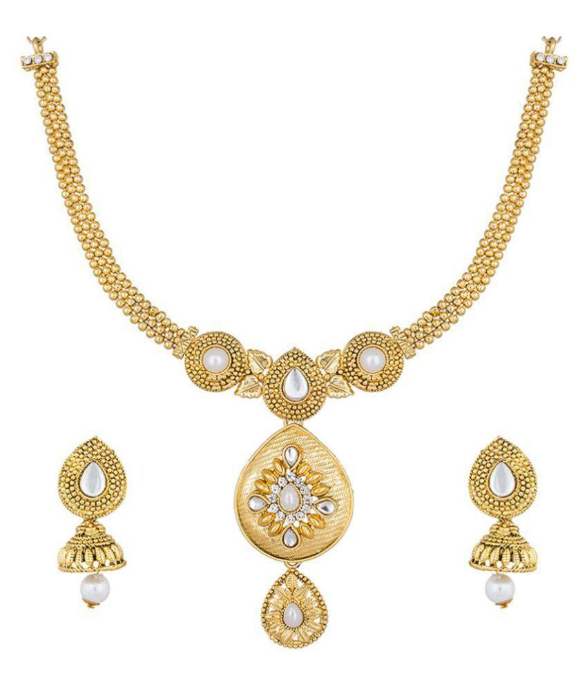 The Luxor Gold Plated Kundan, Pearl & Australian Diamond Studded Traditional Necklace Set NK-1932
