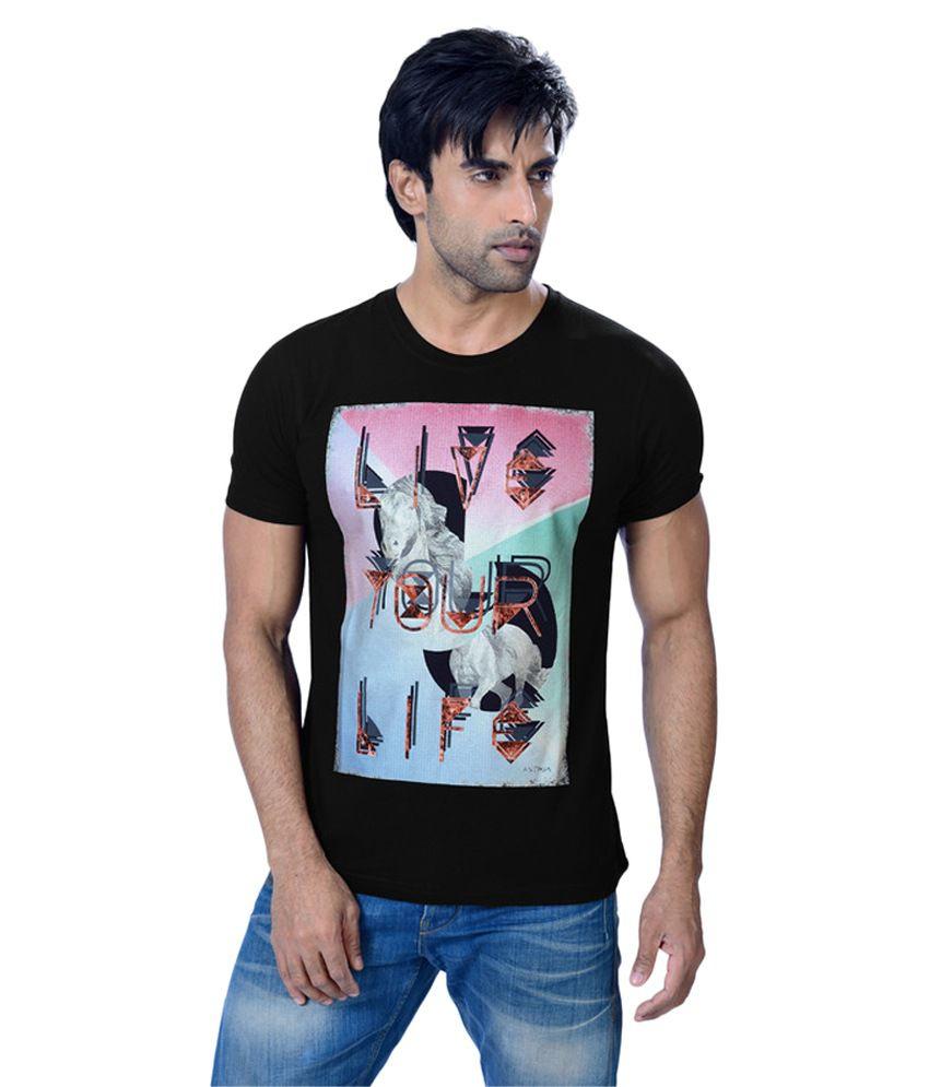 Astron Black Round T-Shirt