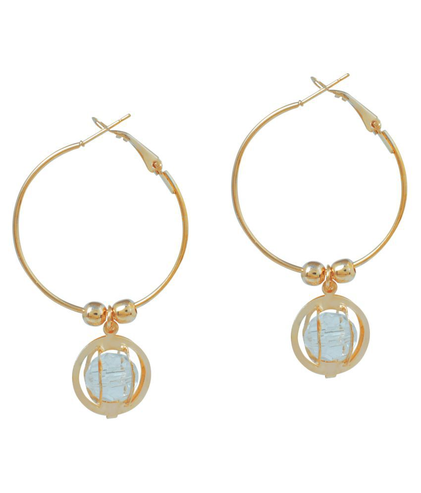 Memoir Round cage White CZ entrapped Rose Gold plated Hoop Bali Earring