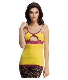 Clovia Yellow Poly Cotton Night T-Shirt